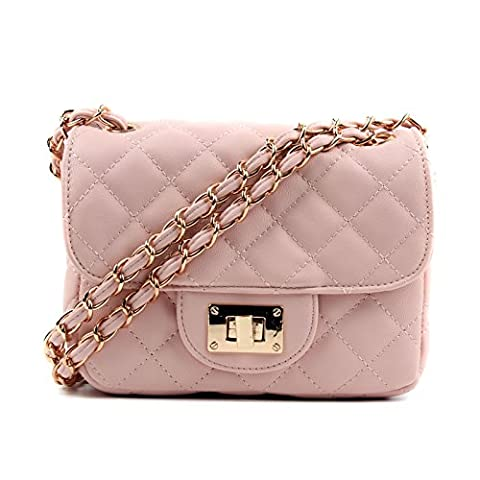 Aossta Womens Small Gold Chain Quilted Shoulder Bag (9169 Pink)