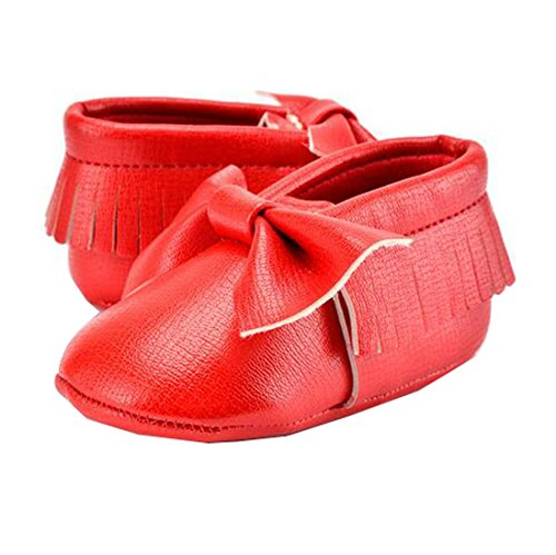 Lucky staryuan ® Baby Säugling Quaste Weich Sohle Leder Schuhe Schmetterling Kleinkind Schuhe (13cm, Rosa 2) rot