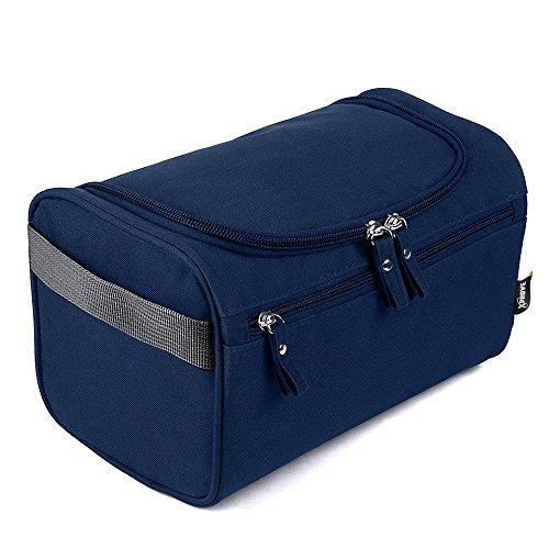 Bolsa de viaje Premium con ganchos para colgar | Bolsa de aseo ultraligera | Impermeable | Resistencia | La bolsa de viaje para hombres perfecta (Azul)
