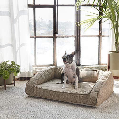 Brentwood Home Runyon Pet Bett mit Nackenrolle, orthopädische Gel Memory Schaum, Made in California, Sandstein, medium -