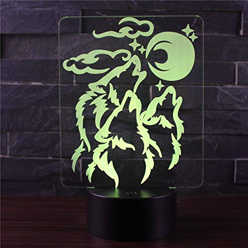 3D Illusione Ottica Led Lampada di Illuminazione Luce Notturna 7 Colori con Acrilico USB Batteria Notturna Touch Control Crack Base Moon Wolf
