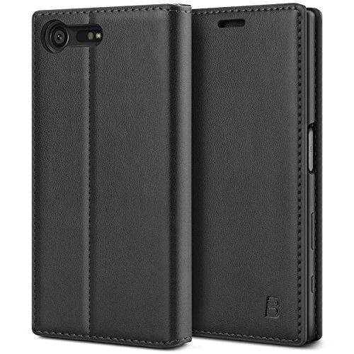 BEZ Hülle für Sony Xperia X Compact Hülle, Handyhülle Kompatibel für Sony Xperia X Compact Tasche, Case Schutzhüllen aus Klappetui mit Kreditkartenhaltern, Ständer, Magnetverschluss, Schwarz