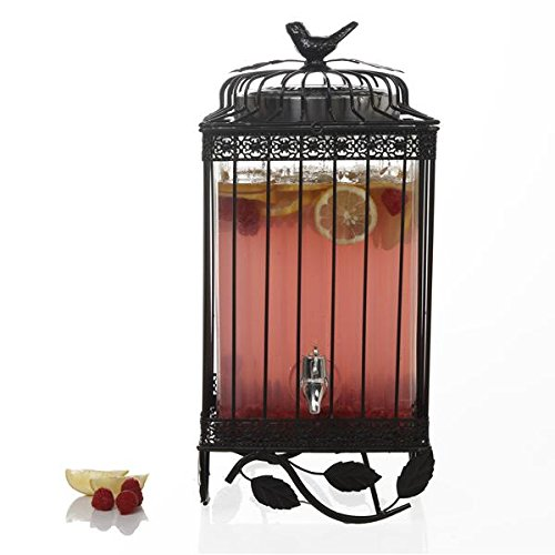 David Tutera David Tutera Fredonia Glass Drink Dispenser with Metal Rack, 1.32 gallon, Clear