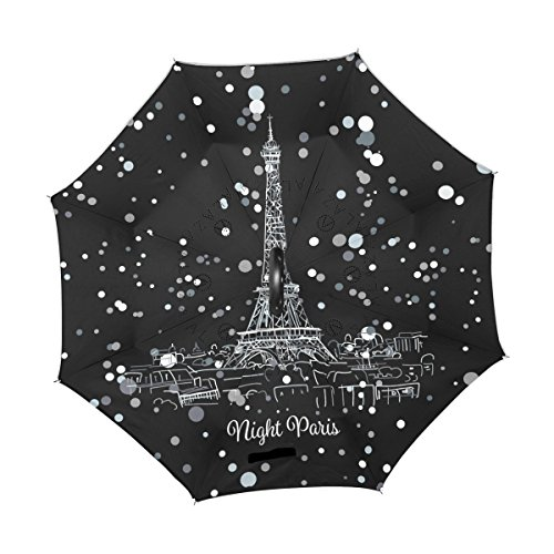 ALAZA noche París ciudad dibujo torre Eifel blanco lunares diseño paraguas paraguas plegable de doble capa resistente al viento Reverse para coche con mango de laboratorio