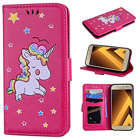 xifanzi Wallet PU Leather Case for Samsung A7 2017 Cover Bookstyle Kickstand Flip Case Folio PU Cover Rainbow Pony Pattern Case Wallet Cover with Magnetic Closure Stand Function Card Slots Full Body Protective Case for Samsung Galaxy A7 2017 (A720F) Rose Red Case