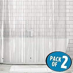 mDesign rideau de douche anti-moisissure (lot de 2) - rideau baignoire avec 12 œillets renforcés pour une suspension facile - rideau douche - 183 cm x 183 cm - transparent