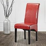 Dirty Pro toolstm 2x Esszimmerstuhl, Kunstleder hohe Rückenlehne für Wohnzimmer Büro Empfang Modern rot