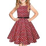 Idgreatim Mädchen Halloween Sommerkleid Kürbis 1950 Rockabilly Swing Sommerkleid, Red White, Gr.- 11-12 Jahre/ XL
