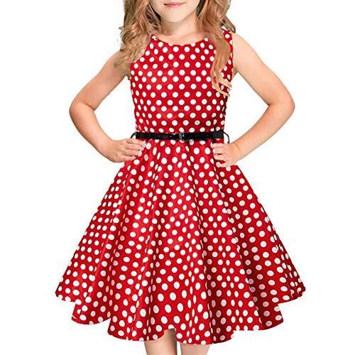 Idgreatim Mädchen Aermellos Lässige Swing Kleider 1950 Vintage Party Rockabilly A-Linie Kleider mit Gürtel - Boatneck Strickjacke