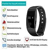AsiaLONG Fitness Armband mit Pulsmesser – Puls Armband Schrittzähler Fitness Tracker Aktivitätstracker mit Schlafanalyse, Kalorienzähler, Vibrationswecker Anruf SMS Whatsapp Vibration für iOS und Android Handy (Upgrade) - 2