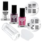 Stamping Set SHOPPING DREAM - Clear Jelly Stamper transparent + Scrapper + Stampinglack Weiss 11ml + Stamping-Lack Violet 11ml + Stamping Lack Magenta 11ml + KONAD Stamping Schablone M60 + KONAD Stampingschablone M70