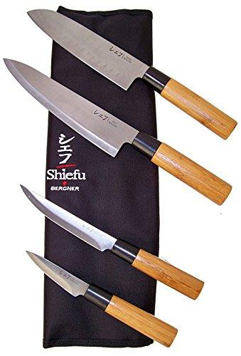 Shiefu - Set 4 Coltelli da cucina in acciaio inossidabile con manico in bambù, impugnatura (Acciaio Inossidabile Lama Manico In Legno)