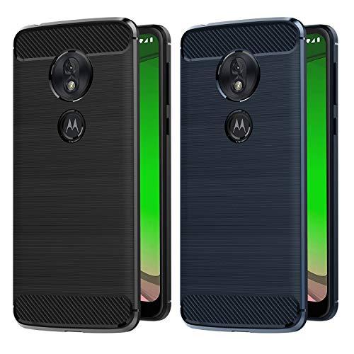 VGUARD [2 Stücke] Hülle Kompatibel für Motorola Moto G7 Play, Carbon Faser Case Tasche Schutzhülle mit Stoßdämpfung Soft Flex TPU Silikon Handyhülle - (Schwarz+Blau)