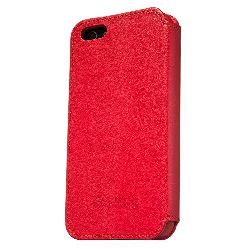 "ROMA Luxus Echt Ledertasche iPhone SE. Hülle Ultra Dünn iPhone 5S Premium Design Leder Tasche Case. iPhone 5 Lederhülle Echtleder mit unsere ""Doppelschild"" Rundumschutz. Rot Rot"