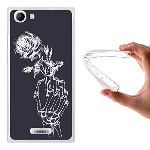 WoowCase Wiko Ridge FAB 4G Hülle, Handyhülle Silikon für [ Wiko Ridge FAB 4G ] Skeletthand und Rose Handytasche Handy Cover Case Schutzhülle Flexible TPU - Transparent