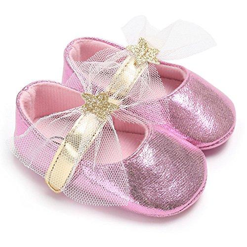 hibote Scarpe da bambino infantile scarpe scarpe in pizzo con plexiglass antisdrucciolevole Gold 6-12M rosa