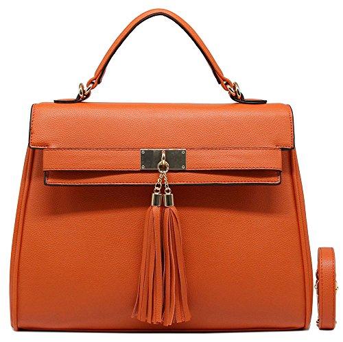 Bag Laptop-tasche Satchel (CRAZYCHIC - Damen Handtasche mit Handgelenk und Tassel - Frau Henkeltasche - Elegante Schultasche - Leder Imitat Tasche - Entferwer Schultertasche - Designer Tote Fashion Satchel Bag - Orange)