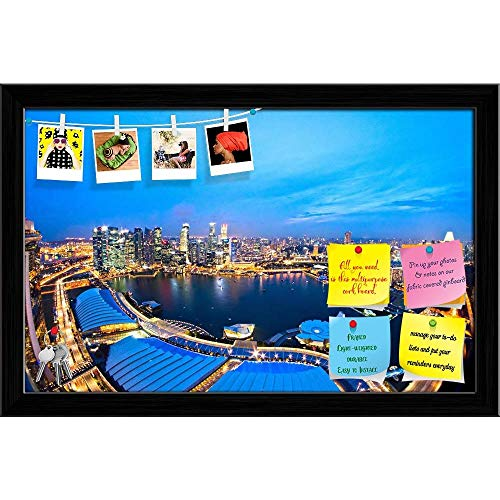 Artzfolio Fish Eye View Of Singapore City Skyline At Sunset Printed Bulletin Board Notice Pin Board | Black Frame 18.5 X 12Inch Fisheye-pin