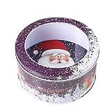 WAINEO Contenitori rotondi in metallo con scatola in latta a tema natalizio con coperchi trasparenti Scatole regalo per biscotti con scatola decorativa natalizia