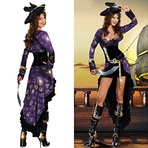 aribik Piraten Halloween-Kostüm -Parteikleid Schwalbenschwanz Piratin Kleidung ()