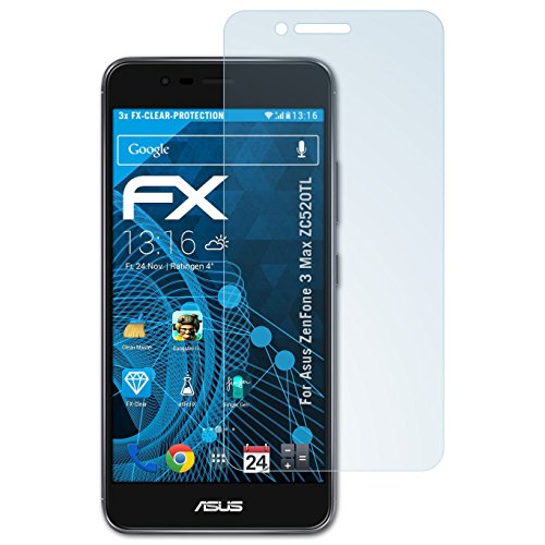 atFolix Schutzfolie kompatibel mit Asus ZenFone 3 Max ZC520TL Folie, ultraklare FX Bildschirmschutzfolie (3X)