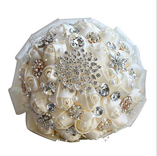 Diamants à la main perle Satin Rose demoiselles d'honneur de mariée Bouquets artificiels Coréen européenne de mariage cadeaux de mariage fournitures ( Color : Milk White )