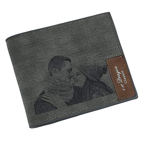 Personalisierte benutzerdefinierte Foto Brieftasche gravierte Bild Leder Geldbörse Männer Mann Papa