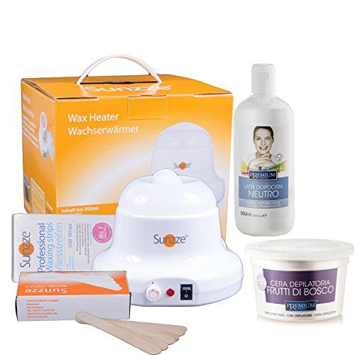 Wax-Set Sunzze Premium zur Enthaarung vom Intim, Achsel, Bein und Gesichtbereich. Mit Sunzze Wachserwärmer, Premium Warmwachs Rote Früchte, Nachbehandlungsemulsiuon, Vliesstreifen und Spatel.
