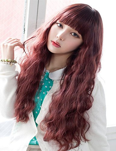Perruque & xzl Perruques Fashion modèles d'explosion de la mode japonaise et coréenne avec une longue perruque frisée