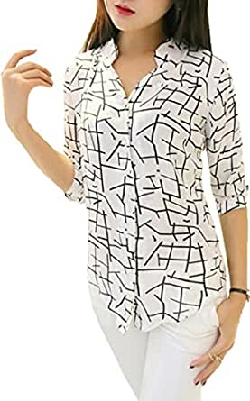Clothfab Women's Cotton Stylish Digital Printed Shirt Size : XL White Colour