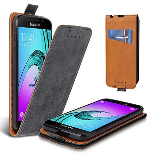 Lelogo Galaxy A3 2016 Hülle, Leder Tasche für Samsung Galaxy A3 (2016) Handyhülle Flip Case Schutzhülle (Dunkel Grau) - Dunkel Grau Leder