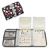 ProCase Joyero Enrollable, Bolsa Rollo Organizadora de Viaje para Joya, Manta de Joyería para Collares Pendientes Pulseras Anillos Relojes Aretes y Accesorios de Vestir -Patrón Corazón