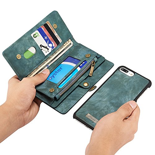 CaseMe Leather Wallet Case for iPhone 7 Plus with Detachable Folio, Card Slots, Cash Slots, Magnetic Buttons Blue