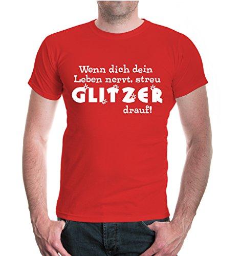 buXsbaum® T-Shirt Wenn dich dein Leben nervt, streu Glitzer drauf Red-White
