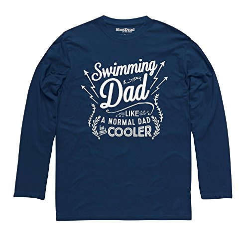 Swimming Dad Langarmshirt Funny Novelty Gift, Herren Dunkelblau