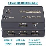 4k60hz Commutateur HDMI 3 Ports 3 x 1 Sélecteur USB Power Source IR Remote UHD 3840 x 2160P HDCP2.2 pour UHDTV Blu-Ray/PC/ PS3/PS4PRO Xbox 360/One Wii U