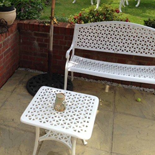 Lazy Susan – JULY Gartenbank und SANDRA Quadratischer Kaffeetisch – Gartenmöbel Set aus Metall, Weiß (Grünes Kissen) - 4
