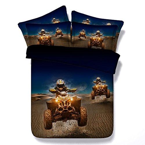 BEIZI Motocross Print Duvet Set mikrofaser königin/König für Erwachsene Kinder Teen wohnheim Quilt 3 teilige 1 bettbezug, 2 Kissenbezüge, B -