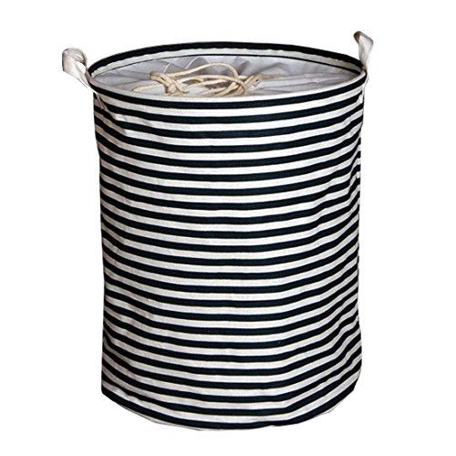Andux cestino di vestiti Organizzazione lavanderia Ceste per la biancheria (banda del blu marino) ZYL-01