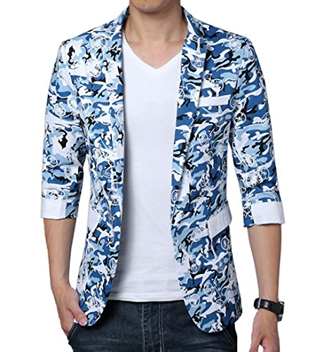 Ouye Blau Camouflage Blazer Freitzeit Sakko 6X-Large