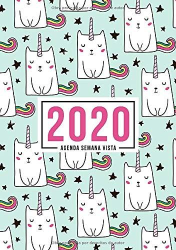 Agenda semana vista 2020: Del 1 de enero de 2020 al 31 de diciembre de 2020: Diario, organizador y planificador con vista semanal y mensual español: Lindo gato unicornios en verde 925-6