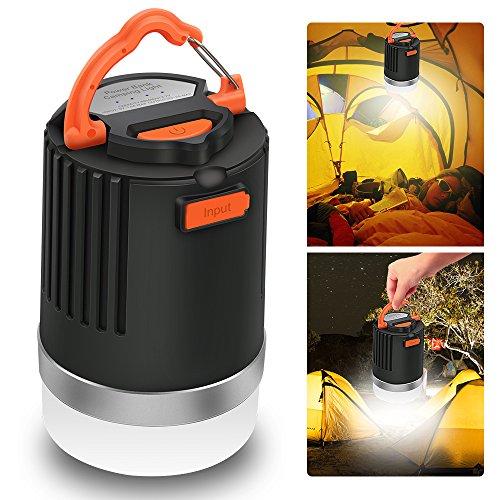Lanterna da campeggio a LED & Power Bank, Elepowstar 2-in-1 impermeabile 10050 mAh USB caricabatteria esterno, luci di emergenza IP65 per esterni zaino da escursionismo pesca Uragani