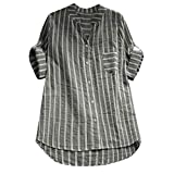 Frashing Damen Gestreiftes Blusen Große Größe Sommer Bluse Hemd Langarm 3/4 Ärmel Oberteile Beiläufig Blusen Shirt Tops v Ausschnitt Kurzarm Casual Oversize T-Shirt S-5XL