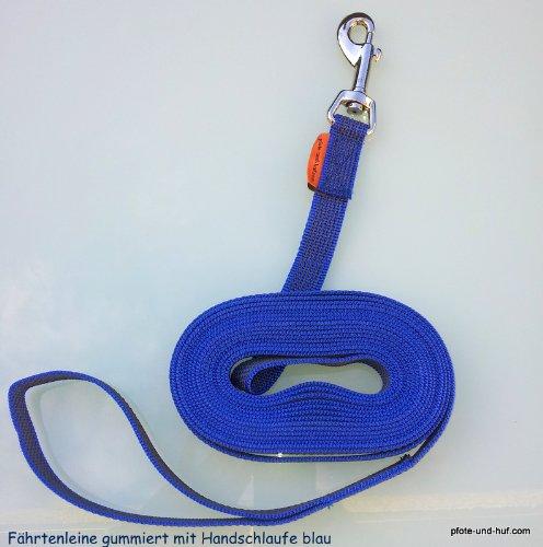 Artikelbild: Gummierte Hundeleine Fährtenleine Schleppleine 10m mit Handschlaufe blau