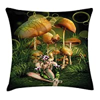 tgyew Mushroom Throw Pillow Cushion Cover by, Fairy Woman in Enchanted Forest Elf Pixie Fungus Growth Flowers Grass, Decorative Square Accent Pillow Case, 18 X 18 Inches, Green Light Brown Pink