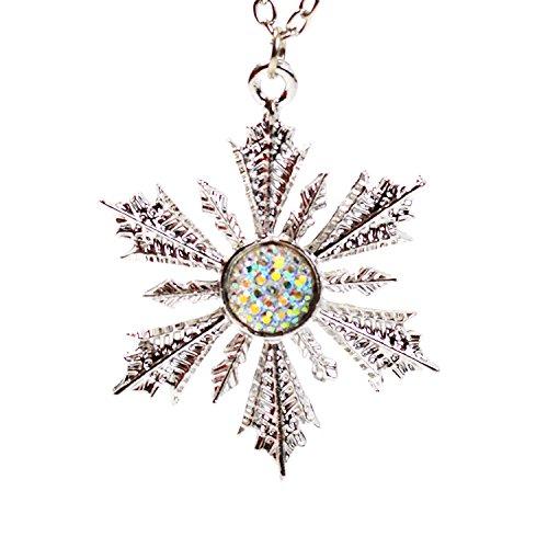 Kristall Schneeflocke Halskette-Once Upon A Time-Frozen, Anhänger Inspiriert-Anna 's Wishing Star Snow Flake in Geschenkbox (Snow Elsa Flake)