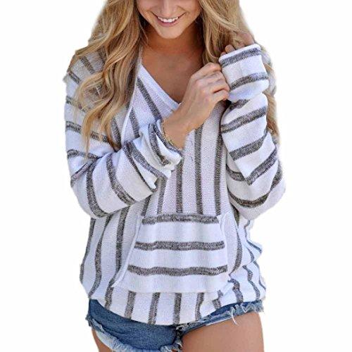 OVERDOSE Damen Stripe Loose Langarm Pullover Casual Strickwaren Bluse Tops Shirt (S, A-Grau) - Strickmuster Damen-pullover