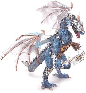 Plastoy 60250 - Figura de dragón, Color Gris y Azul
