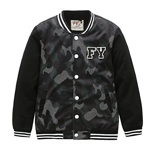 Grandwish Garçons Camouflage Vestes de Baseball Lettre Slim Vêtements d