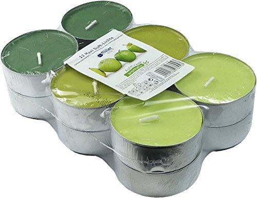 12-farbig-sortierte-maxi-duft-teelichte-9-std-brennd-duft-grner-apfel-markenware-von-mller-kerzen